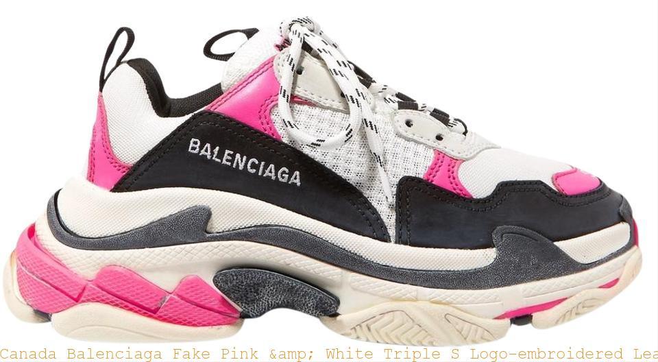 eb6672c9901fe Canada Balenciaga Fake Pink   White Triple S Logo-embroidered Leather  Nubuck and Mesh Sneakers Sneakers balenciaga sale shoes
