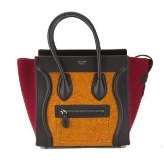 Cheap Céline AAA Replica Celine Orange Multicolour Felt Micro Luggage  Handbag celine bag price b493229e94202