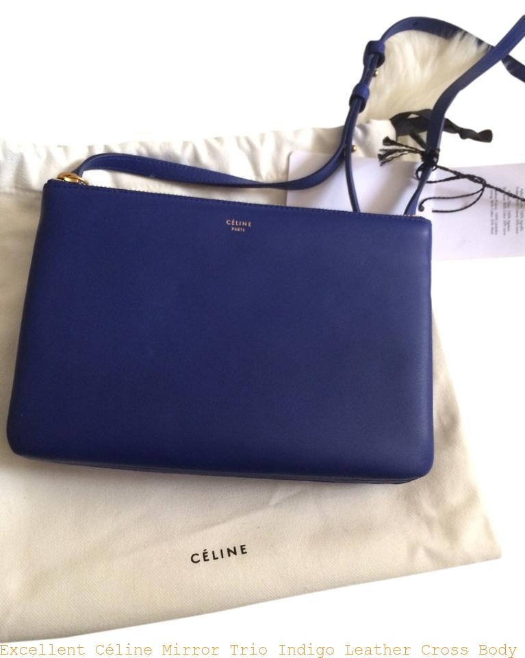 ceae7ee67a Excellent Céline Mirror Trio Indigo Leather Cross Body Bag celine replica  crossbody bag