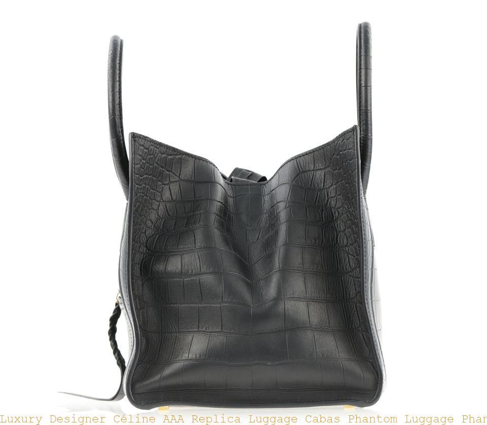 18408b6058c1 Luxury Designer Céline AAA Replica Luggage Cabas Phantom Luggage Phantom  Medium Black Leather Tote celine shoes