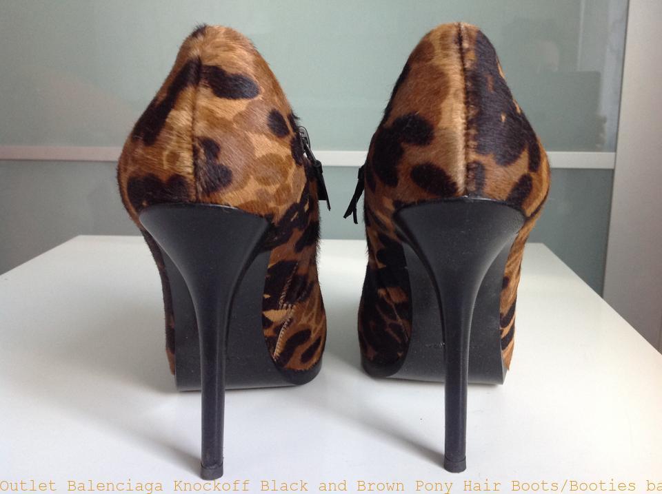 5ab4c0628a6b9 Outlet Balenciaga Knockoff Black and Brown Pony Hair Boots/Booties  balenciaga replica shoes