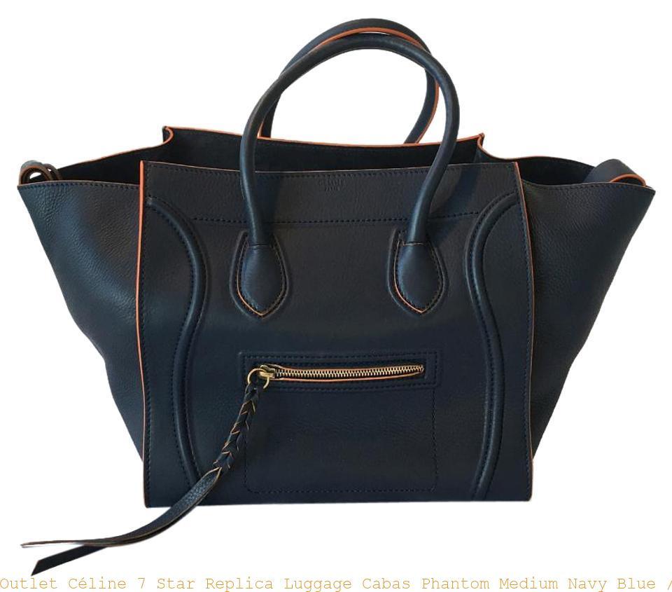 2b62a0fd9fcad1 Outlet Céline 7 Star Replica Luggage Cabas Phantom Medium Navy Blue /  Orange Trim Calfskin Tote celine replica crossbody bag